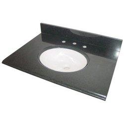Pegasus 25 in. Granite Vanity Top with White Basin - Black