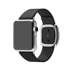Waloo Modern Buckle Leather Wrist Band Strap for Apple Watch - Black - 42mm