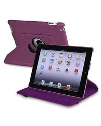 Insten 360 Degree Swivel Leather Case for Apple iPad 2/3/4 - Purple