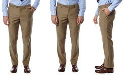 Alberto Cardinali Men's Slim-fit Flat-front Dress Pants - Beige - Size: 32/30