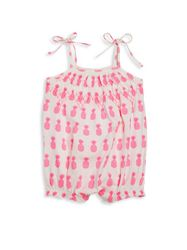 Egg Baby Pima Cotton Tie Up Striped Tunic Set -Neon Pink - Size: 18 Months