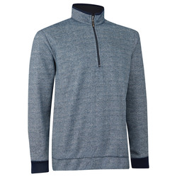 Ashworth Print Tweed Fleece Half Zip Pullover - Navy - Size: Large