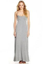 Casual Couture By Green Envelope Striped Maxi Dress - Grey/White - Size: S
