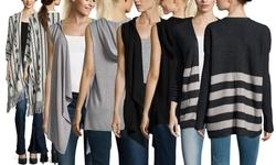 Joan Vass Long Sleeve Jersey Open Front Hoodie - Grey - Size: Medium
