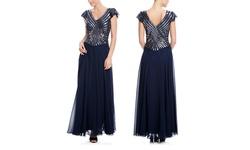 J Kara V-Neck Sequin Bodice Gown - Navy/Mercury - Size: 12