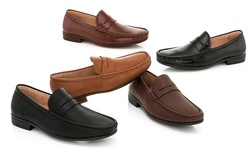 Franco Vanucci Men's Slip-on Dress Shoes - Black Pu - Size: 10