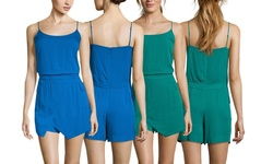 Sleeveless Wrap Front Romper - Jade - Size: Small