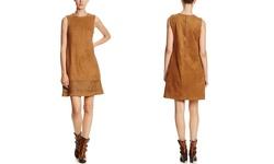 Spense Suade Sleeveless V-Neck Shift Dress - Caramel Corn - Size: 8