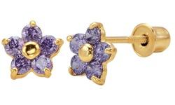 Dazzling Kiddos Flower Stud Earrings in 14K Solid Gold - Purple