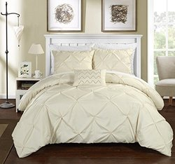 Chic Home Pleated Complete Duvet Cover Set - Beige - Size: Queen - 4Piece