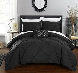 Chic Home Pleated Complete Duvet Cover Set Shams - Black - Sz: Queen - 4Pc