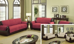 "Wexley Home 110""x70.5"" Reversible Slipcovers- Garnet/Natural"