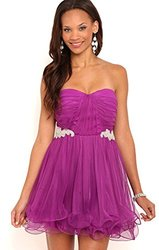 Deb Junior Short Strapless Prom Dress - Berry - Size: 9