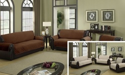 Wexley Water-Resistant Reversible Love Chair Slipcover - Chocolate/Natural