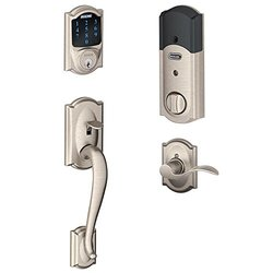 Schlage Connect Camelot Touchscreen Deadbolt with Alarm - Satin Nickel