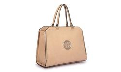 Dasein Top-Zip Satchel Handbag with Goldtone Hardware - Beige