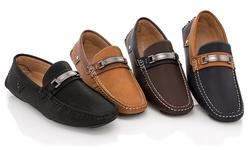 Franco Vanucci Men's Dress-Casual Driver Loafers - Black-Black - Size: 11