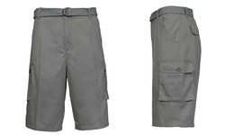 Galaxy By Harvic Men's Flat-Front Belted Cargo Shorts - Grey - Size: 34