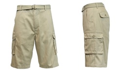 Galaxy By Harvic Men's Flat-Front Belted Cargo Shorts - Size: 34