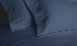 Elle 1000TC Egyptian Cotton Rich Stripe Sheet Set - Cobalt - Size: King