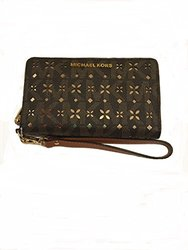 Michael Kors Jet Set Travel Perforated Logo Phone Case - Brown Logo/Gold