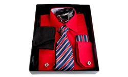 Berlioni Men's Dress Shirt Set - Red - Size: Large