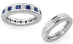 Women's 5.92 CTTW Swarovki Elements Sterling Silver Band - Sapphire/7