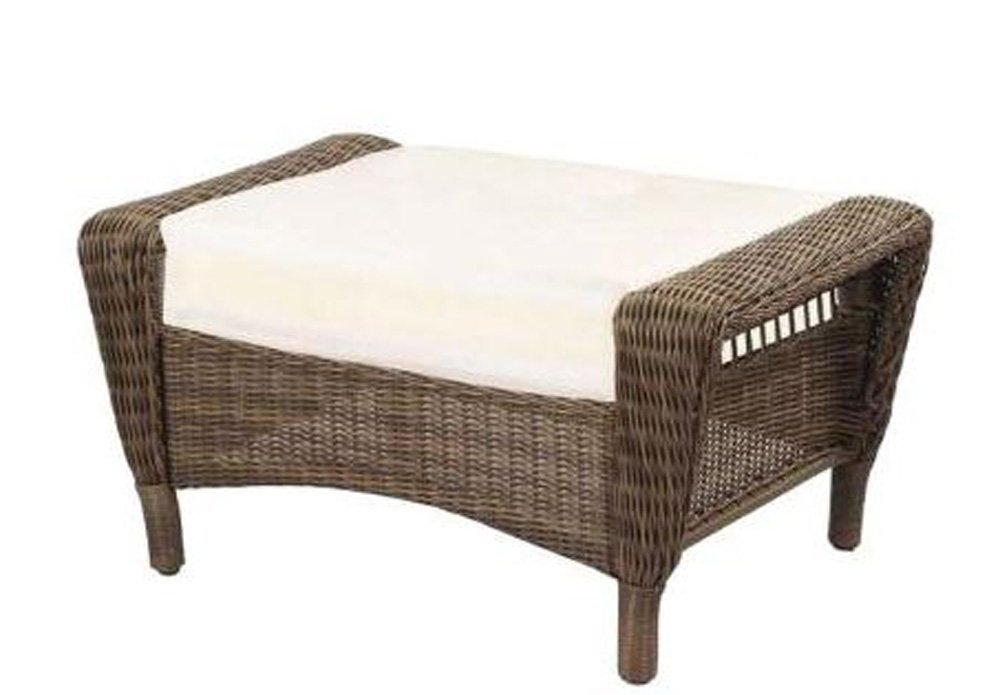 Hampton Bay Spring Haven Wicker Patio Ottoman/Cushion   Grey (55 20302)