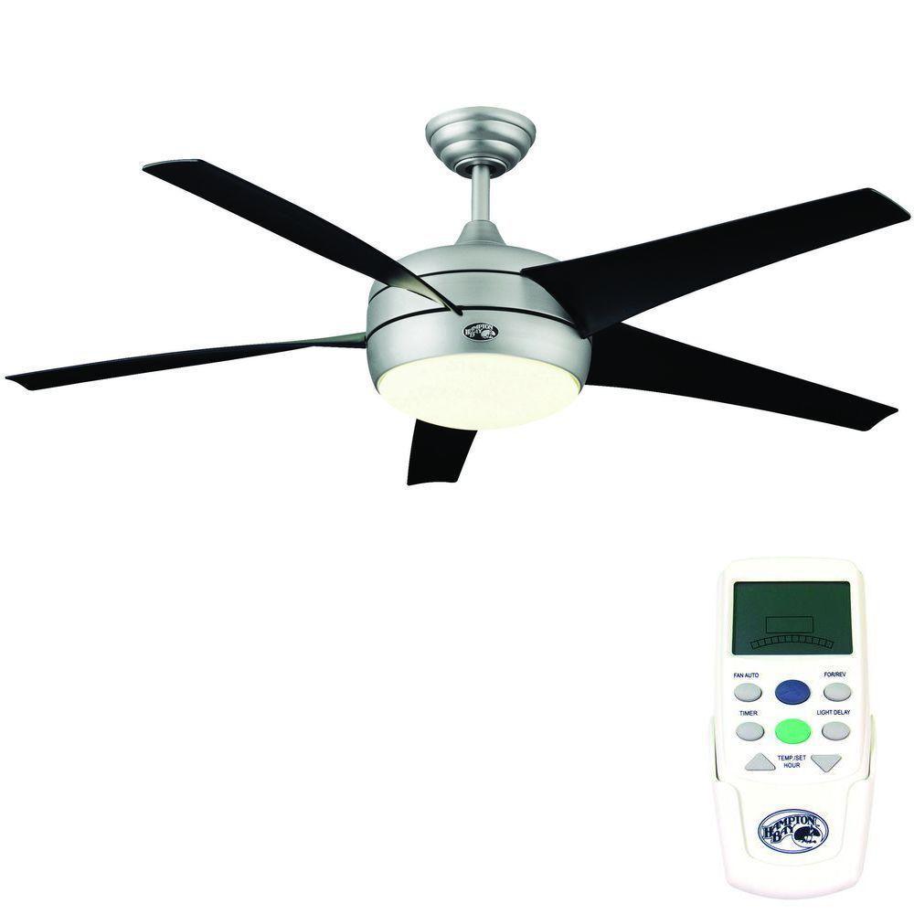 Hampton Bay Windward Ii 54 Ceiling Fan W Light Brushed Steel 55295