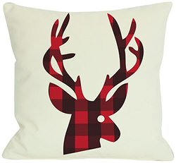 Bentin Home Decor Plaid Reindeer Reversible Throw Pillow by OBC