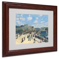 Trademark Fine Art Pont Neuf Paris 1872 Canvas Wall Art by Pierre Renoir with Wood Frame, 11 by 14-Inch