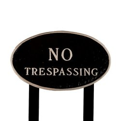 No Trespassing Metal Lawn Plaque with Stakes - Black/Silver