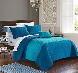 Chic Home 4 Piece Dominic Geometric Embroidery Quilt Set - Size: Queen