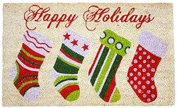 J & M Home Fashions Holiday Stockings Vinyl Back Coco Doormat, 18-Inch by 30-Inch