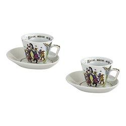 Cardew Design Snow White Cup & Saucer (Set of 2), 6.5 oz, Multicolor