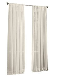 "LA Linen Sheer Voile Drape Panel 72""X118"" - Ivory (Pack of 1)"