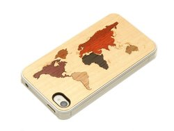 CARVED Clear Maple Wood Inlay Case for iPhone 4/4S - World Map (CC1-WORLD)