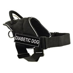 DT Fun Works Harness, Diabetic Dog, Black With Reflective Trim, X-Small - Fits Girth Size: 20-Inch to 23-Inch