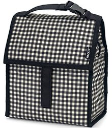 PackIt Freezable Gingham Pattern Lunch Bag with Zip Closure - Black/White