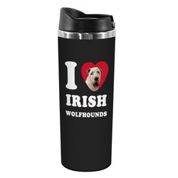 Tree-Free Greetings TT42070 I Heart Irish Wolfhounds 18-8 Double Wall Stainless Artful Tumbler, 14-Ounce, White