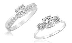 Kiran Jewels Women's Gemstone Ring - White Topaz/White Sapphire - Size: 7