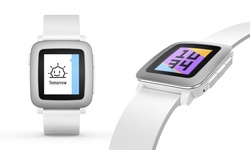 Pebble Square Time Smartwatch for iPhone & Android - White Band/Clear Dial