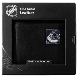 Vancouver Canucks Leather Bi-fold Wallet - Black