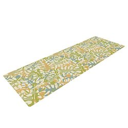 Kess InHouse Warm Tropical Leaves Yoga Mat - Green/Orange