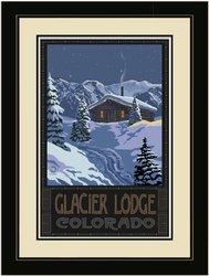 "20""x26"" Glacier Lodge Colorado Winter Mountain Cabin Framed Wall Art"
