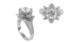 Sterling Silver 18K White Gold Plated Micropave Flower Ring - Size: 8