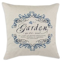Garden Gate Indigo/Linen Natural 26 by 26-Inch KE Fiber Pillow