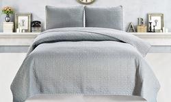 Jasmine Collection 3-piece Vermicelli Stitch Quilt Set: King/grey