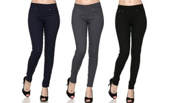 5-Pocket Slimming Skinny Pants - Black/Navy/Grey - Size: S/M (3-Pack)