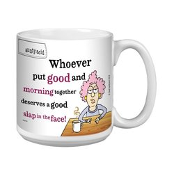 Tree-Free Greetings XM27755 Aunty Acid Artful Jumbo Mug, 20-Ounce, Good Morning Slap